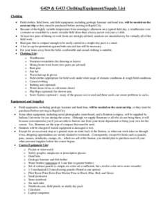 G429 & G433 Clothing/Equipment/Supply List Clothing    