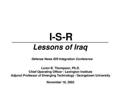 [removed], ISR Lessons of Iraq