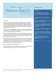 Opalesque Private Equity Strategies  Issue 20   October 9, 2015 Issue 20   October 9, 2015  Private Equity