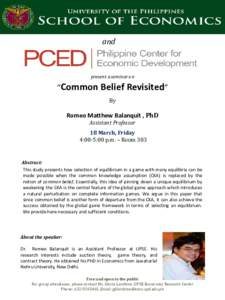 "and  present a seminar on ""Common Belief Revisited"" By"