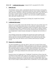 RULE 103 I. Confidential Information - Adopted, Amended, Public Records