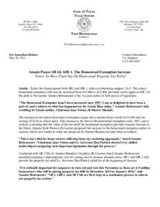 State of Texas Texas Senate PO BoxAustin, Texas8810 Fax