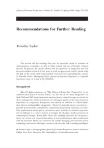 Recommendations for Further Reading