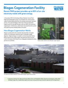 Biogas Cogeneration Facility Recent PWD project provides up to 85% of on-site electricity needs with green energy. In December 2013, the Northeast Water Pollution Control Plant began generating green power. A new facilit