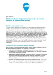 Berne, 9 juinCharte relative à l'organisation de modes de travail flexibles et indépendants du lieu  Évolution des modes de travail