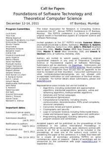CallforPapers  Foundations of Software Technology and Theoretical Computer Science December 12-14, 2011 Program Commtitee