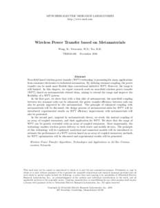 MITSUBISHI ELECTRIC RESEARCH LABORATORIES http://www.merl.com Wireless Power Transfer based on Metamaterials Wang, B.; Yerazunis, W.S.; Teo, K.H. TR2016-166