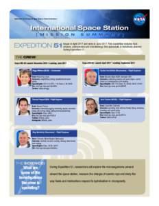 National Aeronautics and Space Administration  International Space Station [ M I S S I O N  S U M M A R Y ]