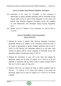 Determination of Generic Levellised Generation Tariff for RET (Amendment)  FY2015-16 Jammu & Kashmir State Electricity Regulatory Commission Sub:- Amendment