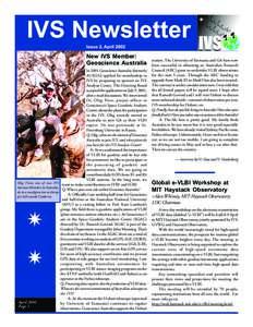 IVS Newsletter Issue 2, April 2002 New IVS Member: Geoscience Australia In 2001 Geoscience Australia (formerly