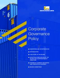 Corporate Governance Policy DEFINITIONS AND INTERPRETATION INTRODUCTION FUNCTIONS OF THE BOARD