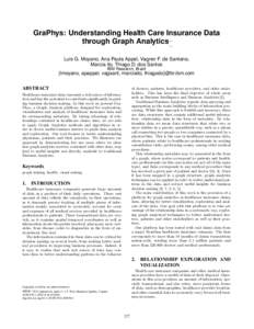 GraPhys: Understanding Health Care Insurance Data through Graph Analytics. Luis G. Moyano, Ana Paula Appel, Vagner F. de Santana, Marcia Ito, Thiago D. dos Santos IBM Research, Brazil