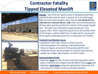 Contractor Fatality Tipped Elevated Manlift Activity: Two third-tier subcontractor employees performing overhead steel erection work in support of an aircraft hangar Military Construction project, were injured, one fatal
