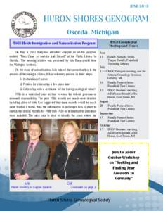 JUNEHURON SHORES GENOGRAM Oscoda, Michigan HSGS Genealogical Meetings and Events
