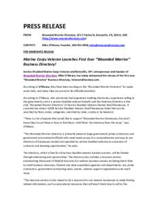 PRESS RELEASE FROM: Wounded Warrior Directory, 221 E Fairfax St, Berryville, VA, 22611, USA (http://www.veteransdirectory.com)