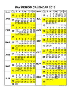 PAY PERIOD CALENDAR 2013 Pay Month Period 27