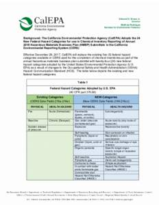 Microsoft Word - Federal Hazard Class - Background.doc