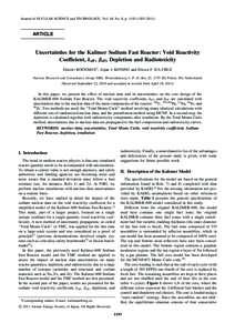 Journal of NUCLEAR SCIENCE and TECHNOLOGY, Vol. 48, No. 8, p. 1193–ARTICLE Uncertainties for the Kalimer Sodium Fast Reactor: Void Reactivity Coefficient, keff , eff , Depletion and Radiotoxicity