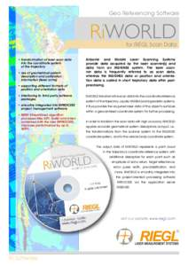 Geo Referencing Software  RiWORLD for RIEGL Scan Data  ••transformation of laser scan data