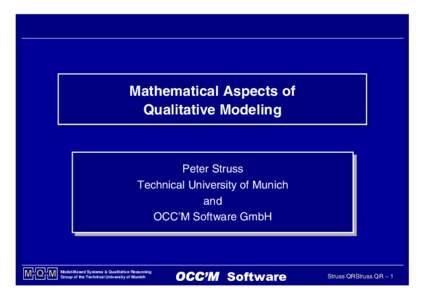 Mathematical Mathematical Aspects Aspects of of Qualitative Qualitative Modeling