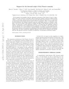 Support for the thermal origin of the Pioneer anomaly Slava G. Turyshev1 , Viktor T. Toth2 , Gary Kinsella1 , Siu-Chun Lee3 , Shing M. Lok3 , and Jordan Ellis1 1 arXiv:1204.2507v1 [gr-qc] 11 Apr 2012