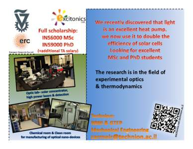 The research is in the field of experimental optics & thermodynamics