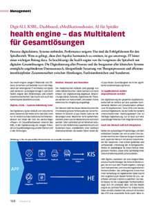 Management  DigitALL KSBL, Dashboard, eMedikationsdossier, AI für Spitäler health engine – das Multitalent für Gesamtlösungen