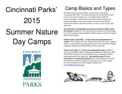 Cincinnati Parks Summer Nature Day Camps
