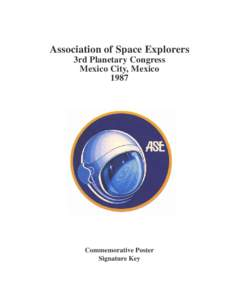 Association of Space Explorers 3rd Planetary Congress Mexico City, MexicoCommemorative Poster