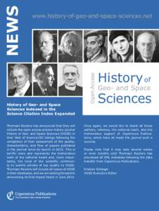 History of Geo- and Space Sciences indexed in the Science Citation Index Expanded Thomson Reuters has announced that they will include the open access science-history journal History of Geo- and Space Sciences (HGSS) in