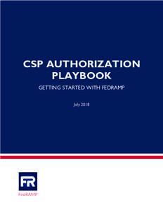 CSP AUTHORIZATION PLAYBOOK GETTING STARTED WITH FEDRAMP July 2018  REVISION HISTORY