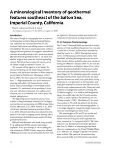 A mineralogical inventory of geothermal features southeast of the Salton Sea, Imperial County, California Paul M. Adams and David K. Lynch The Aerospace Corporation, P. O. Box 92957, Los Angeles, CA 90009