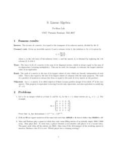 9. Linear Algebra Po-Shen Loh CMU Putnam Seminar, Fall