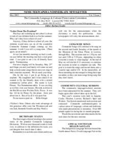 NU - MU - TEKWAPU - HA NOMNEEKATU - NEWSLETTER May 2002