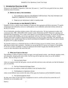MediaFLO Operations Center Tour Script