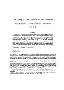The Overlay of Lower Envelopes and its Applications Pankaj K. Agarwaly Otfried Schwarzkopfz  Micha Sharirx
