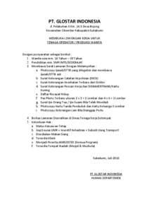 Pt Glostar Indonesia Jl Pelabuhan Ii Km 14 5 Desa Bojong Kecamatan Cikembar Kabupaten Sukabumi Membuka Lowongan Kerja Untuk Tenaga Operator Produksi Wanita Sukabumi Document Pdfsearch Io Document Search Engine