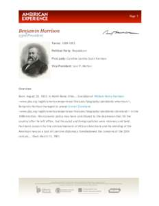 Page 1  Benjamin Harrison 23rd President  Terms: [removed]