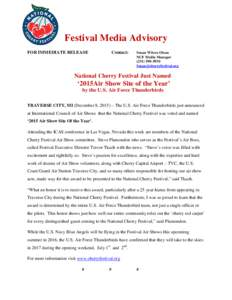 Festival Media Advisory FOR IMMEDIATE RELEASE Contact:  Susan Wilcox Olson