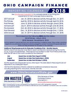 2018 Campaign Finance Reporting Calendar