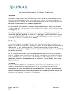 Case Study: NGO Effectiveness in the Context of the Syrian Crisis