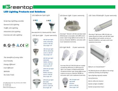 LED Lighting Products and Solutions LED Reflector Spot Light LED Down Light 3-year warranty  LED Tube T8 Retrofit 3-year warranty
