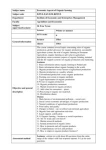 Subject name  Economic Aspects of Organic farming Subject code