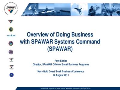Overview of Doing Business with SPAWAR Systems Command (SPAWAR) Faye Esaias Director, SPAWAR Office of Small Business Programs Navy Gold Coast Small Business Conference