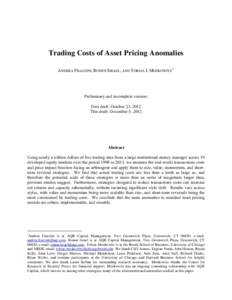 Trading Cost of Asset Pricing Anomalies