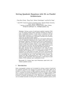 Solving Quadratic Equations with XL on Parallel Architectures 1 2