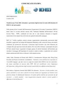 COMUNICATO STAMPA  IOSCO/MRottobre 2018 World Investor Week 2018: educazione e protezione degli investori al centro dell'attenzione di IOSCO e dei suoi membri
