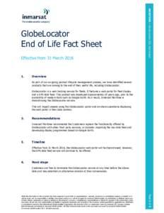 Effective from 31 MarchMARITIME > GlobeLocator EOL Fact Sheet