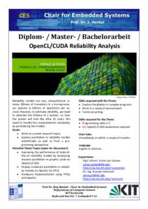 Diplom- / Master- / Bachelorarbeit OpenCL/CUDA Reliability Analysis OPENCL & Image Source: NVIDIA