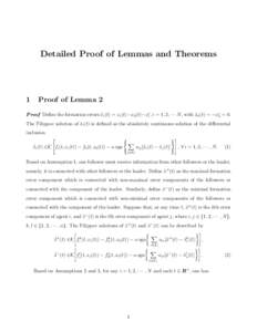 Detailed Proof of Lemmas and Theorems  1 Proof of Lemma 2
